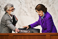 United States Senator Dianne Feinstein (Democrat of California), Ranking Member, US Senate Judiciary Committee, arrives for a US Senate Judiciary Committee business meeting  in the Hart Senate Office Building on Capitol Hill in Washington, DC on October 15, 2020. <br /> Credit: Mandel Ngan / Pool via CNP /MdeiaPunch