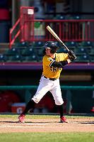 Erie SeaWolves Jon Rosoff (3) bats during a game against the Harrisburg Senators on September 5, 2021 at UPMC Park in Erie, Pennsylvania.  (Mike Janes/Four Seam Images)