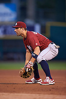 Lehigh Valley IronPigs first baseman Russ Canzler (19) during a game against the Rochester Red Wings on May 15, 2015 at Frontier Field in Rochester, New York.  Rochester defeated Lehigh Valley 5-4.  (Mike Janes/Four Seam Images)