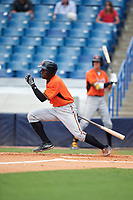 Taylor Trammell (1) of Mount Paran Christian School in Powder Springs, Georgia playing for the Baltimore Orioles scout team during the East Coast Pro Showcase on July 30, 2015 at George M. Steinbrenner Field in Tampa, Florida.  (Mike Janes/Four Seam Images)