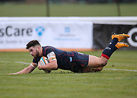 Ben Mosses of London Scottish scores a try during the Greene King IPA Championship match between London Scottish Football Club and Bedford Blues at Richmond Athletic Ground, Richmond, United Kingdom on 23 December 2017. Photo by Mark Kerton / PRiME Media Images.
