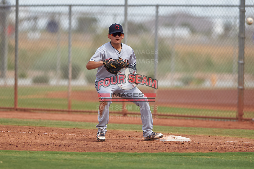 AZL Indians Red first baseman Joe Naranjo (24) prepares to catch a throw during an Arizona League game against the AZL Indians Blue on July 7, 2019 at the Cleveland Indians Spring Training Complex in Goodyear, Arizona. The AZL Indians Blue defeated the AZL Indians Red 5-4. (Zachary Lucy/Four Seam Images)