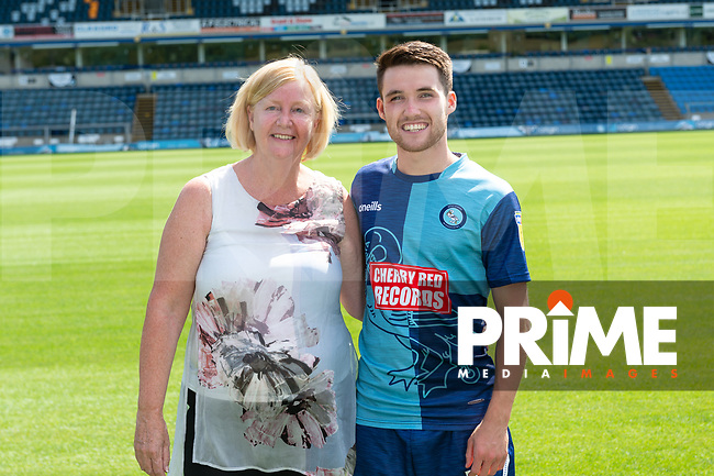 Paul Smyth with sponsors during the Wycombe Wanderers FC Squad Photo Day at Adams Park, High Wycombe, England on 29 July 2019. Photo by Andy Rowland.
