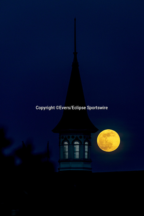 April 26, 2021: The Pink Supermoon rises behind one of the twin spires at Churchill Downs, home of the Kentucky Derby, in Louisville, Kentucky on April 26, 2021. EversEclipse Sportswire/CSM
