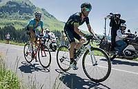 Alejandro Valverde (ESP/Movistar) & Fabio Arru (ITA/Astana) up the Col de la Colombière<br /> <br /> 69th Critérium du Dauphiné 2017<br /> Stage 8: Albertville > Plateau de Solaison (115km)