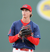 Starting pitcher Henry Owens (32) of the Greenville Drive pitched five scoreless innings to pick up his 12th win in a game against the Hickory Crawdads on Friday, August 31, 2012, at Fluor Field at the West End in Greenville, South Carolina. With his 12th win, Owens (12-5) tied the Drive franchise wins record set by Felix Doubront in 2008. Greenville won, 7-2. (Tom Priddy/Four Seam Images)
