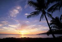 Sunset a North Kihei, Maui with palm trees.