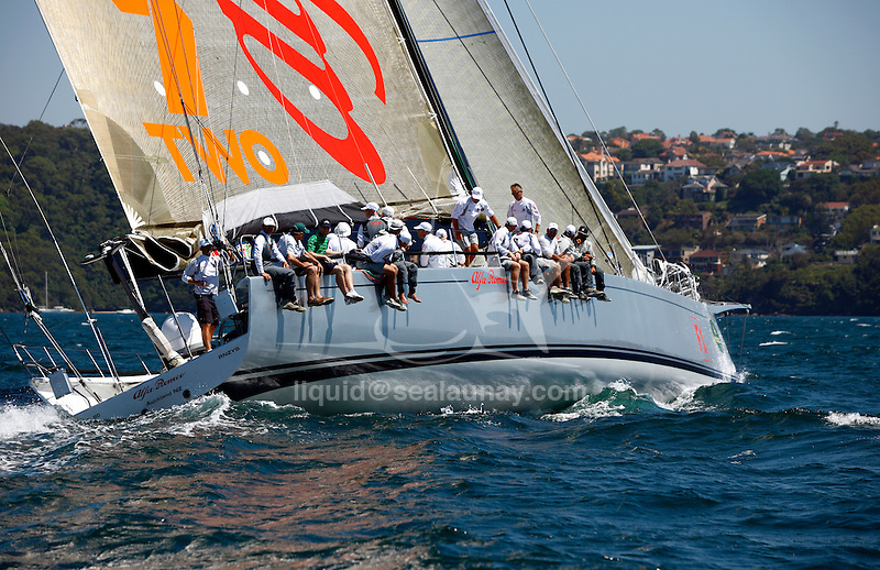 Alfa Romeo during a training session in Sydney, Australia in preparation for the Rolex Sydney to Hobart 2009. .'Alfa Romeo', the second yacht built by New Zealand skipper and owner, Neville Crichton, to carry the name of the Italian car maker, was penned by leading American yacht designers, Reichel/Pugh and built in Sydney by McConaghy Boats.