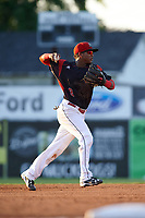 Batavia Muckdogs shortstop Marcos Rivera (8) throws to first base during a game against the Lowell Spinners on July 11, 2017 at Dwyer Stadium in Batavia, New York.  Lowell defeated Batavia 5-2.  (Mike Janes/Four Seam Images)