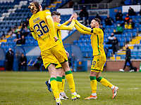 18th April 2021; Stair Park, Stranraer, Dumfries, Scotland; Scottish Cup Football, Stranraer versus Hibernian; Martin Boyle of Hibernian celebrates after scoring for 0-4 from the penalty sport in minute 84 with Kevin Nisbet of Hibernian