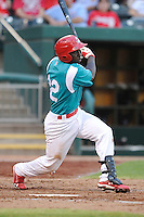 Jermaine Curtis (22) of the Springfield Cardinals swings at a pitch against the Corpus Christi Hooks at Hammons Field on August 19, 2012 in Springfield, Missouri.(Dennis Hubbard/Four Seam Images)
