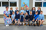Ms Breda McGaley with her junior infant class on their first day of school in Currow NS on Monday (school has no name policy)