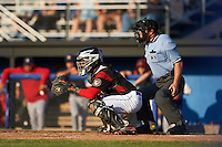 Batavia Muckdogs catcher Pablo Garcia (7) and umpire John Budka await a pitch during a game against the State College Spikes on June 24, 2016 at Dwyer Stadium in Batavia, New York.  State College defeated Batavia 10-3.  (Mike Janes/Four Seam Images)