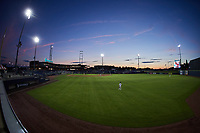 A wide angle view of Atrium Health Ballpark during the game between the Fayetteville Woodpeckers and the Kannapolis Cannon Ballers on June 22, 2021 in Kannapolis, North Carolina. (Brian Westerholt/Four Seam Images)