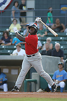 Potomac Nationals outfielder Michael Burgess #25 at bat during a game vs. the Myrtle Beach Pelicans at BB&T Coastal Field in Myrtle Beach, SC, on June 16, 2010. The Nationals defeated the Pelicans 13-4. Photo By Robert Gurganus/Four Seam Images