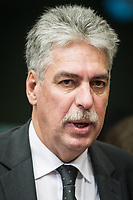 Austrian Finance Minister Hans Jorg  Schelling  at the start of a Eurogroup with European Finance Ministers meeting at EU council headquarters in Brussels, Belgium on 26.01.2015 The Eurogroup's meeting focus on Greece, after  leftist anti-bailout party SYRIZA won parliamentary elections by Wiktor Dabkowski