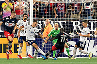 FOXBOROUGH, MA - AUGUST 18: Emmanuel Boateng #11 of New England Revolution takes a shot during a game between D.C. United and New England Revolution at Gillette Stadium on August 18, 2021 in Foxborough, Massachusetts.