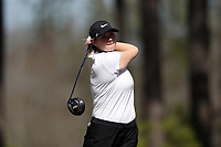WALLACE, NC - MARCH 09: Jackie Schmidt of Marshall University tees off on the 12th hole of the River Course at River Landing Country Club on March 09, 2020 in Wallace, North Carolina.