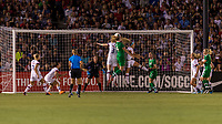 PASADENA, CA - AUGUST 4: Sam Mewis #3 and Louise Quinn #4 go up for a header during a game between Ireland and USWNT at Rose Bowl on August 3, 2019 in Pasadena, California.