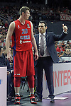 CSKA Moscow's coach Dimitris Itoudis with his player Andrey Vorontsevich during Euroleague Semifinal match. May 15,2015. (ALTERPHOTOS/Acero)