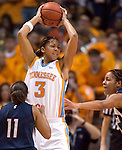 KNOXVILLE, TN--07 JANUARY 2005- 010706JS13-Tennessee's Candace Parker pulls down an offensive rebound during thier 89-80 win over UConn Saturday at the Thompson-Boling Arena in Knoxville, Tennessee. <br />  --Jim Shannon Republican American--Candace Parker UConn; Tennessee; Thompson-Boling Arena; Knoxville; Tennessee are CQ