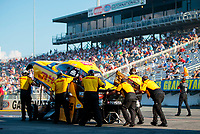 Sep 26, 2020; Gainesville, Florida, USA; Crew members push the car of NHRA funny car driver J.R. Todd during qualifying for the Gatornationals at Gainesville Raceway. Mandatory Credit: Mark J. Rebilas-USA TODAY Sports