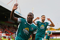 Isaac Olaofe (L) of Sutton United scores the first goal for his team and celebrates during Crawley Town vs Sutton United, Sky Bet EFL League 2 Football at The People's Pension Stadium on 16th October 2021