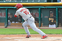 Oscar Taveras (15) of the Memphis Redbirds at bat against the Salt Lake Bees at Smith's Ballpark on June 18, 2014 in Salt Lake City, Utah.  (Stephen Smith/Four Seam Images)