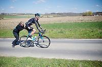 Sir Bradley Wiggins (GBR/Sky) pushed on his way after a mechanical<br /> <br /> 99th Ronde van Vlaanderen 2015