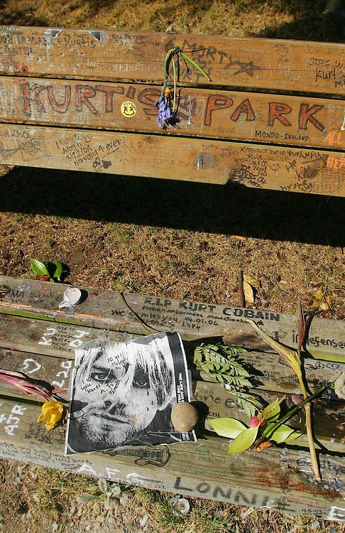 Seattle, Grunge, music, Kurt Cobain shrine, park bench opposite Cobain's home, fan graffiti, Madrona neighborhood,