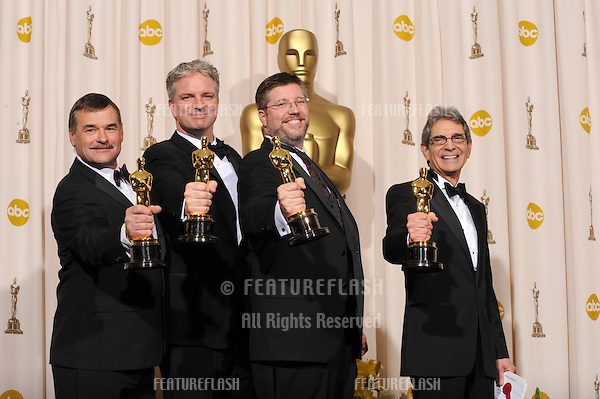 Michael Fink & Bill Westenhofer & Ben Morris & Trevor Wood at the 80th Annual Academy Awards at the Kodak Theatre, Hollywood..February 24, 2008 Los Angeles, CA.Picture: Paul Smith / Featureflash