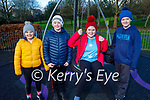 Ciara O'Connor, Edward and Genevieve O'Keeffe and Jack Sheehy enjoying the Listowel town park on New Years Eve.