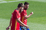 David Villa, Gerard Pique and Jordi Alba during training of the spanish national football team in the city of football of Las Rozas in Madrid, Spain. August 30, 2017. (ALTERPHOTOS/Rodrigo Jimenez)
