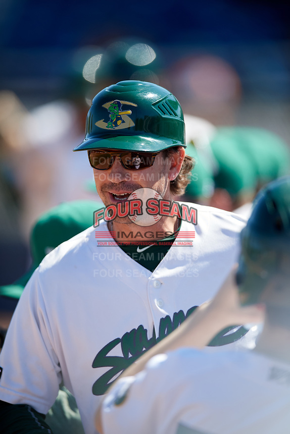 Beloit Snappers manager Scott Steinmann (22) in the dugout during a game against the Bowling Green Hot Rods on May 7, 2017 at Pohlman Field in Beloit, Wisconsin.  Bowling Green defeated Beloit 6-2.  (Mike Janes/Four Seam Images)