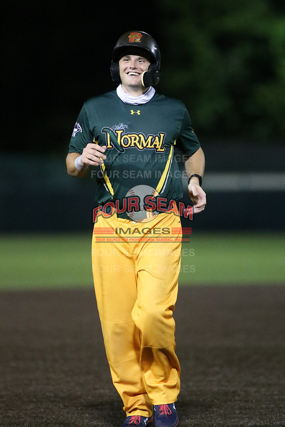 Normal Cornbelters Tate Matheny smiles while running the bases during a game against the O'Fallon Hoots on July 25, 2020 at CarShield Field in O'Fallon, Missouri.  Matheny, a Boston Red Sox prospect, was able to play with the Cornbelters due to the MiLB season being cancelled due to COVID-19.  (Travis Berg/Four Seam Images)