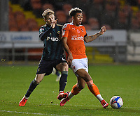 Blackpool's Jordan Lawrence-Gabriel battles with Leeds United's Liam McCarron<br /> <br /> Photographer Dave Howarth/CameraSport<br /> <br /> EFL Trophy - Northern Section - Group G - Blackpool v Leeds United U21 - Wednesday 11th November 2020 - Bloomfield Road - Blackpool<br />  <br /> World Copyright © 2020 CameraSport. All rights reserved. 43 Linden Ave. Countesthorpe. Leicester. England. LE8 5PG - Tel: +44 (0) 116 277 4147 - admin@camerasport.com - www.camerasport.com
