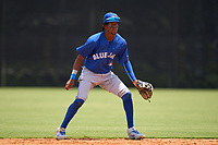 FCL Blue Jays shortstop Rikelin De Castro (27) during a game against the FCL Yankees on June 29, 2021 at the Yankees Minor League Complex in Tampa, Florida.  (Mike Janes/Four Seam Images)