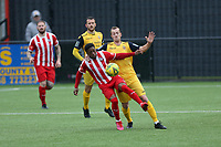 Ronnie Winn of Hornchurch and Michael Ademiluyi of Bowers during Bowers & Pitsea vs Hornchurch, Emirates FA Cup Football at The Len Salmon Stadium on 2nd October 2021