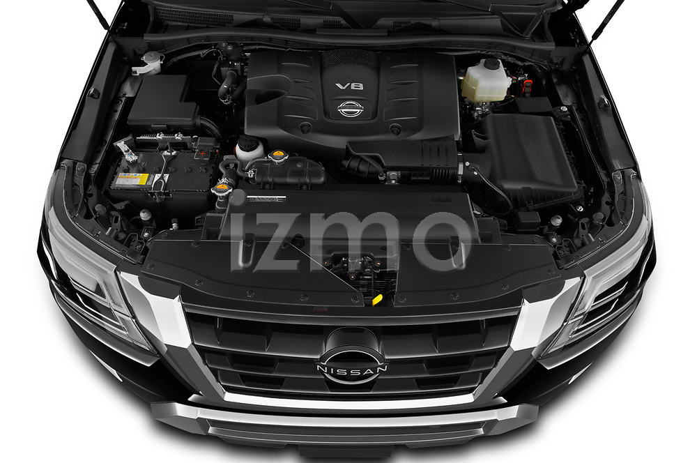 Car Stock 2021 Nissan Armada SL 5 Door SUV Engine  high angle detail view