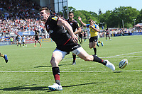 Ben Spencer of Saracens runs in a try during the Aviva Premiership Rugby semi final match between Saracens and Wasps at Allianz Park on Saturday 19th May 2018 (Photo by Rob Munro/Stewart Communications)