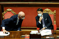 Minister of relations with Parliament Federico D'Inca' and the the Italian premier Giuseppe Conte during the information at the Senate about the last Covid-19 decree.<br /> Rome (Italy), October 21st 2020<br /> Photo Samantha Zucchi Insidefoto