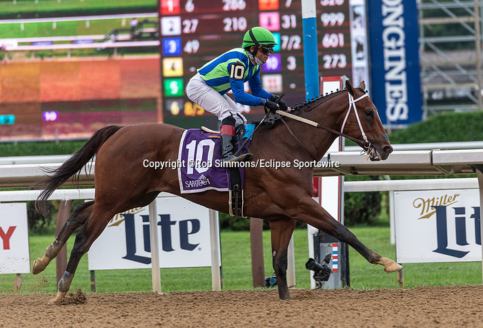 August 7, 2020:  Jackie's Warrior #10, ridden by Joel Rosario, wins the Saratoga Special at Saratoga Race Course in Saratoga Springs, New York. Rob Simmons/CSM