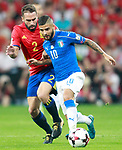 Spain's Daniel Carvajal (l) and Italy's Lorenzo Insigne during FIFA World Cup 2018 Qualifying Round match. September 2,2017.(ALTERPHOTOS/Acero)