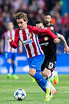 Antoine Griezmann of Atletico de Madrid in action during their 2016-17 UEFA Champions League Round of 16 second leg match between Atletico de Madrid and Bayer 04 Leverkusen at the Estadio Vicente Calderon on 15 March 2017 in Madrid, Spain. Photo by Diego Gonzalez Souto / Power Sport Images