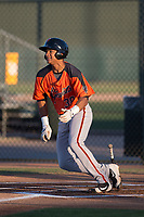 AZL Giants Orange right fielder George Bell (38) starts down the first base line during an Arizona League game against the AZL Athletics at Lew Wolff Training Complex on June 25, 2018 in Mesa, Arizona. AZL Giants Orange defeated the AZL Athletics 7-5. (Zachary Lucy/Four Seam Images)