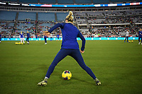JACKSONVILLE, FL - NOVEMBER 10: Emily Sonnett #14 of the United States warming up during a game between Costa Rica and USWNT at TIAA Bank Field on November 10, 2019 in Jacksonville, Florida.
