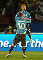 Giuseppe Rossi of Italy celebrates scoring his side's first goal with team-mate Daniele De Rossi (10). Italy defeated USA 3-1 during the FIFA Confederations Cup at Loftus Versfeld Stadium, in Tshwane/Pretoria South Africa on June 15, 2009.