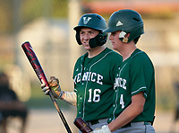 Venice Indians Aidan Corn (16) and Connor O'Sullivan (4) during a game against the Braden River Pirates on February 25, 2021 at Braden River High School in Bradenton, Florida.  (Mike Janes/Four Seam Images)