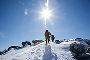 Appalachian Trail - Hikers make their way along the Franconia Ridge Trail in the White Mountains, New Hampshire during the winter months.