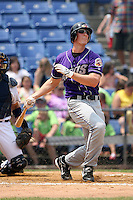 July 7th 2008:  First baseman Stephen Head of the Akron Aeros, Class-AA affiliate of the Cleveland Indians, during a game at NYSEG Stadium in Binghamton, NY.  Photo by:  Mike Janes/Four Seam Images